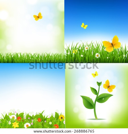 Spring Nature Backgrounds With Grass Border And Flowers With Gradient Mesh, Vector Illustration - stock vector