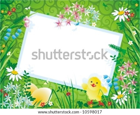 Spring or Easter floral background with blank gift card, eggs and chick on decorative scrollwork pattern backdrop ( for high res JPEG or TIFF see image 10596184 )