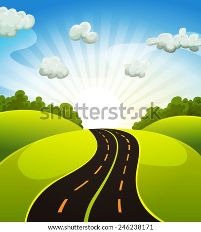 Spring Or Summer Cartoon Landscape/ Illustration of a cartoon road driving from fields and meadows landscape in spring or summer season