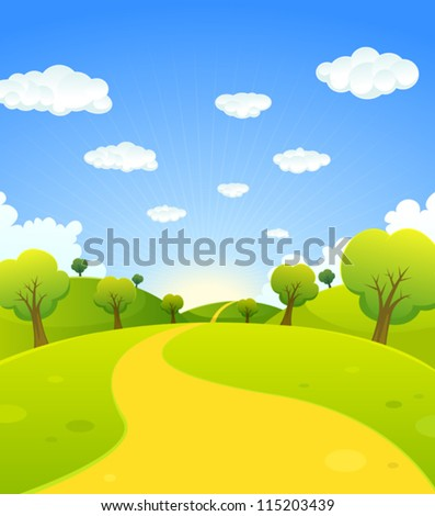 Spring Or Summer Cartoon Landscape/ Illustration of a cartoon summer or spring season country landscape, with road trail leading towards horizon - stock vector
