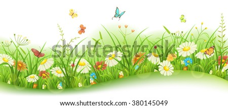 Spring or summer floral banner with green grass, flowers and butterflies - stock vector