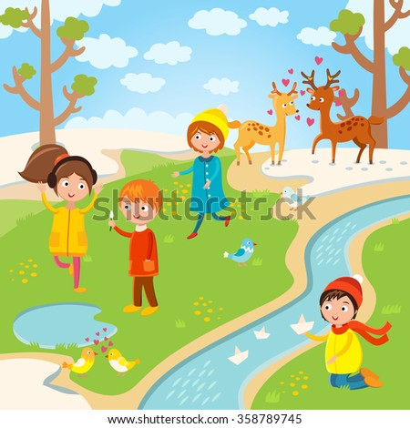 Spring or summer kids playing outdoor. Nature, holidays children. Kids play vector. Children playing. Spring, summer, love, childhood and friends. Kids playing vector. Boys, girls nature vector - stock vector