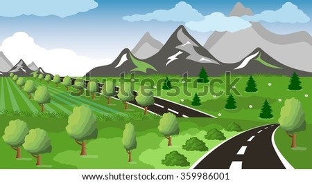 Spring or summer road to the mountain - stock vector