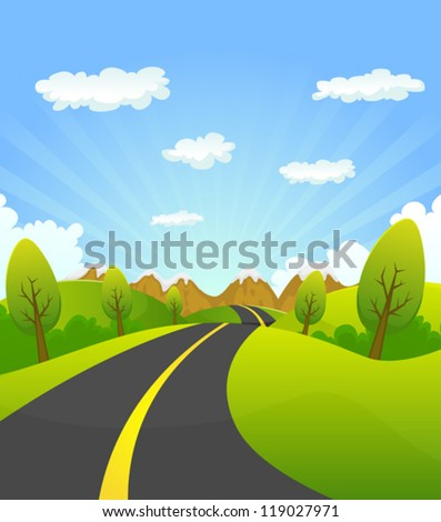 Spring Or Summer Road To The Mountain/ Illustration of a cartoon summer or spring country road going to mountains landscape, for vacations, travel and seasonal holidays background - stock vector