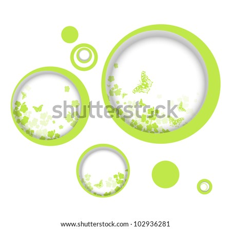 Spring or summer vitality abstract frames with butterflies and flowers silhouette, copyspace - stock vector