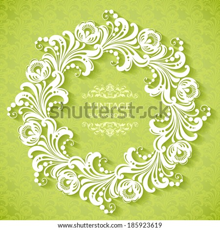 Spring ornamental template with frame and pattern  - stock vector