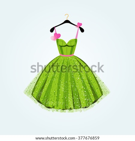 Spring party dress. Vector illustration