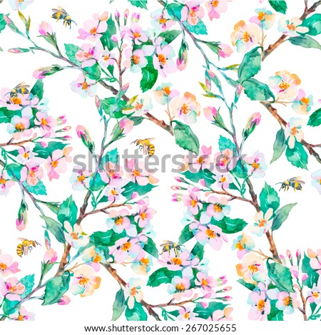 Spring pattern.Flowering branches and bees. Watercolor. Vector. - stock vector
