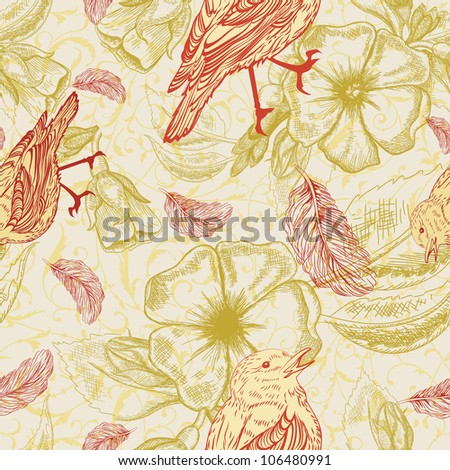 Spring pattern with feathers and birds on apple flowers