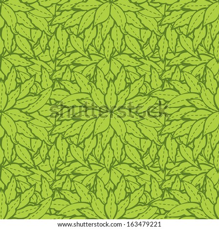 Spring pattern with green leaves.Vector background for textile, wrapping paper and other printing and web projects. - stock vector