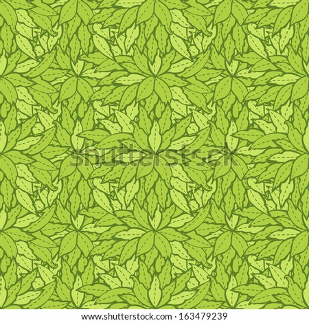 Spring pattern with leaves.Vector background for textile, wrapping paper and other printing and web projects. - stock vector