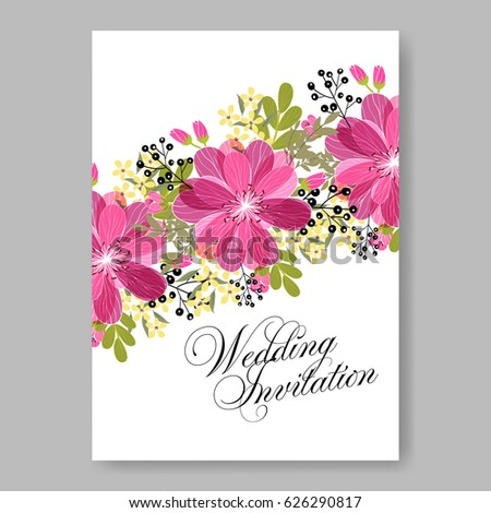 Spring pink rose flowers wedding invitation stock vector 626290817 spring pink rose flowers wedding invitation vector template stopboris Image collections