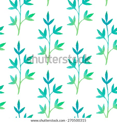 Spring plants seamless background. Vector watercolor. Fresh green colors. - stock vector