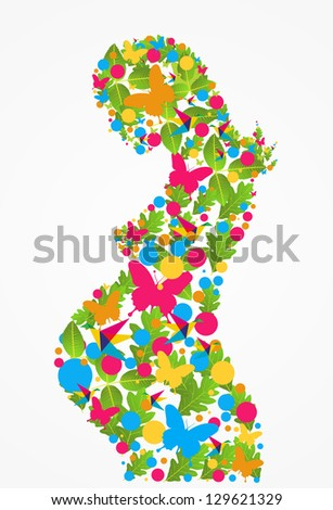Spring pregnant woman flowers silhouette background. Vector file layered for easy manipulation and coloring.