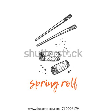 Spring roll concept design. Asian food. Chinese cuisine. Retro card. Hand drawn vector illustration. Can be used for street festival, farmers market, menu, cafe, restaurant, poster, banner, logo.