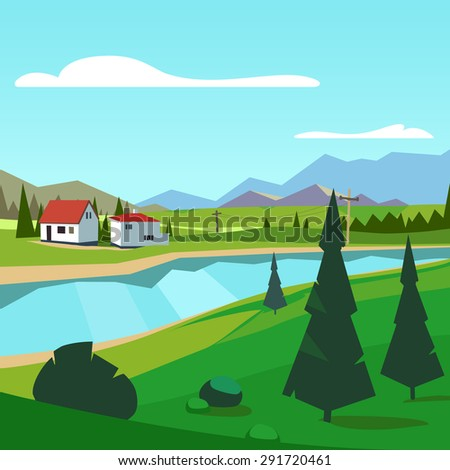 Spring rural farm riverside scenic with mountains in background. Flat style vector illustration. - stock vector