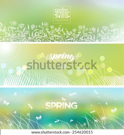 Spring's logo on blurred background. Bright banners set.  - stock vector