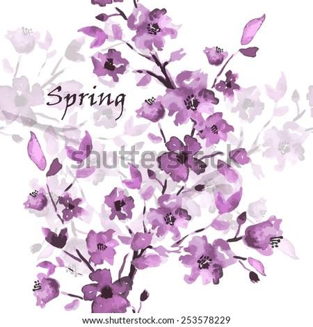 Spring sakura watercolor. Seamless background pattern. Vector - stock vector