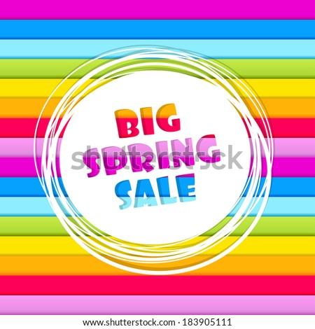 Spring sale abstract banner on horizontal rainbow colored stripes - stock vector