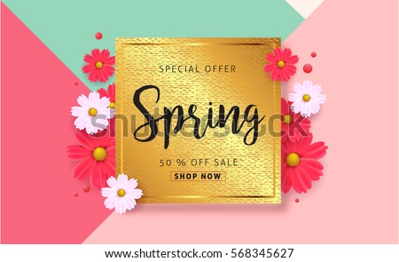 Spring sale background beautiful colorful flower stock vector spring sale background with beautiful colorful flower vector illustration templatennerswallpaper stopboris Images
