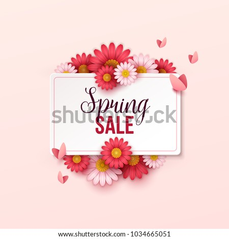 Spring sale background with beautiful flowers.