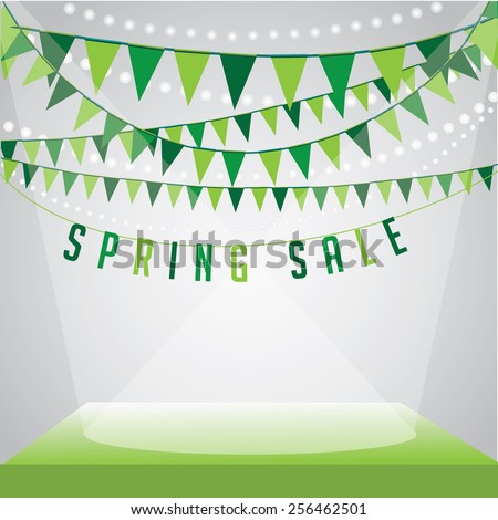 Spring sale Background with flags stage and spotlights on your message EPS 10 vector royalty free stock illustration for ad, promotion, poster, flier, blog, article, social media, marketing - stock vector