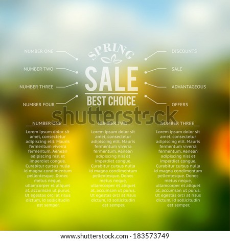 Spring sale background with infographics - stock vector