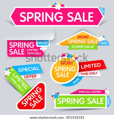 Spring Sale Banner, Sale and discounts. Spring Sale. Colorful sale banner. limited time only. Vector illustration - stock vector