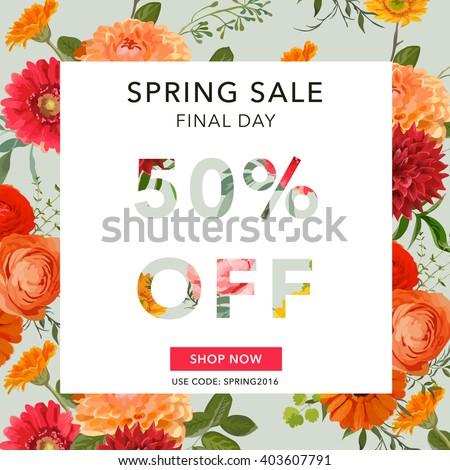 Spring Sale Banner. Sale background. Floral Sale Tag. Sale poster. Vector Illustration.  - stock vector