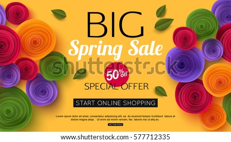 Spring sale banner with paper flowers for online shopping, advertising actions, magazines and websites. Vector illustration.