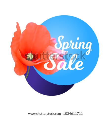 Spring sale banner poppy flower vector stock vector 1034611711 spring sale banner with poppy flower vector universal background flyer banner invitation mightylinksfo