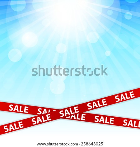 Spring Sale Concept with Nature and Ribbons. Vector Illustration EPS10 - stock vector