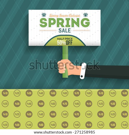 Spring Sale Flat Background and Green Web Banner Vector Design. Signboard Hold Hand Illustration - stock vector
