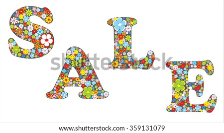 Spring sale message with flowers - stock vector