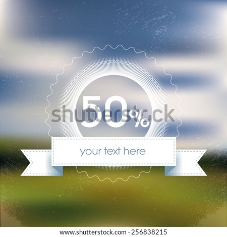 Spring sale poster with discount badge. Blurred background gradient mesh. Vibrant green grass and blue sky. Suitable for advertising offers in malls, shops. Eps10 vector illustration. - stock vector