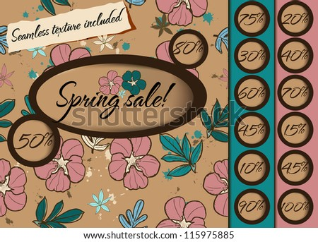 Spring sale poster with seamless texture. Vector illustration EPS10 - stock vector