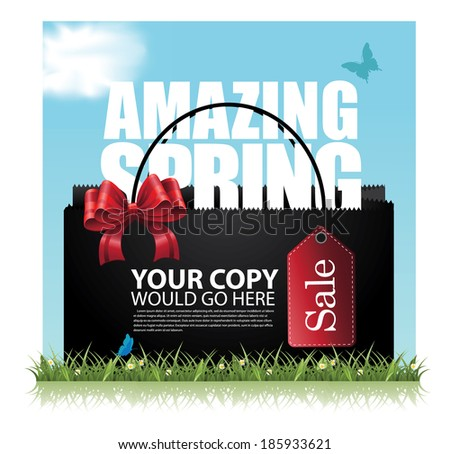 Spring Sale tag advertising background template. EPS 10 vector, grouped for easy editing. No open shapes or paths. - stock vector