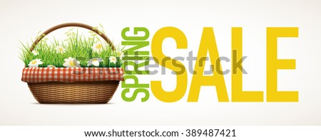 Spring Sale themed design template.Vector illustration of realistic wicker basket. grass and daisy flowers in wicker basket.  Elements are layered separately in vector file. - stock vector