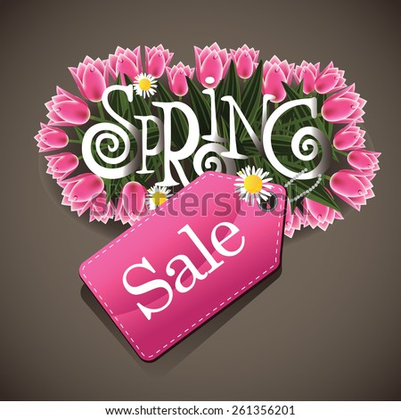 Spring sale tulips and daisies design EPS 10 illustration for greeting card, ad, promotion, poster, flier, blog, article, ad, marketing, florist, retail shop, brochure - stock vector