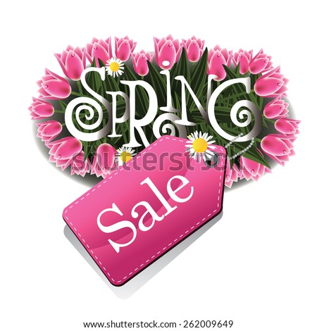 Spring sale tulips and daisies design EPS 10 vector royalty free stock illustration for greeting card, ad, promotion, poster, flier, blog, article, ad, marketing, florist, retail shop, brochure - stock vector