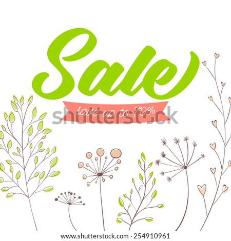 Spring sale vector banner design. Green text on white background with stems, plants and nature decorative elements. - stock vector