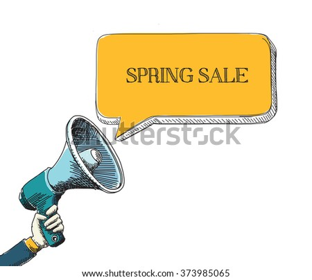 SPRING SALE word in speech bubble with sketch drawing style - stock vector
