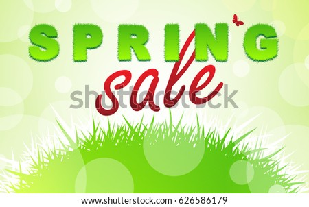SPRING SALE words. SPRING word from grass. Fresh green and eco theme. Business concept. Vector illustration.