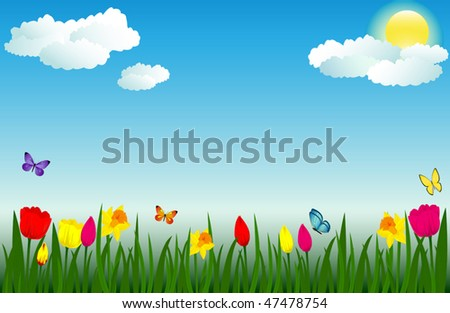 Spring scene with flowers and butterflies