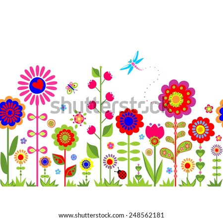 Spring seamless border with funny abstract flowers - stock vector