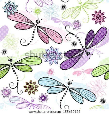Spring seamless floral pattern with colorful dragonflies and translucent polka dots (vector EPS 10) - stock vector