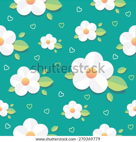 spring seamless pattern design in trendy flat design with white daisy flowers, green leaves and little outlined heart decorations isolated on turquoise blue background. Floral wallpaper - stock vector