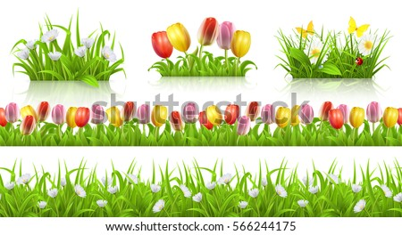Spring seamless pattern, grass and flowers. 3d vector set