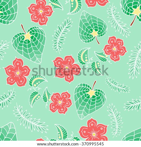 Spring seamless pattern. Hand drawn background. Colorful seamless texture of floral elements. Flowers and leaves seamless texture. Exotic flowers pattern for design, web, wrapping, fabric, etc