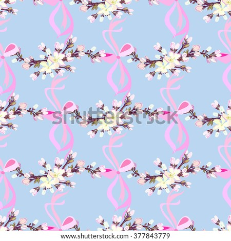 Spring seamless pattern. Hand drawn blossom cherry branches. Seamless pattern with realistic blossom cherry branches and ribbons with bow. Spring girl kids, baby design background. Vector illustration - stock vector